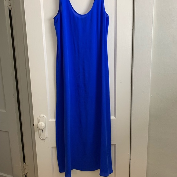 1b688253688 JCrew 100% Silk Cobalt Blue Summer Maxi Sz M